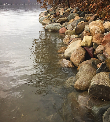 Lake Trades Natural Rock Seawall